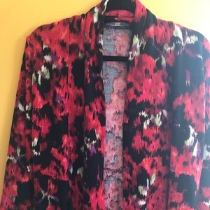 Kasper red floral cardigan.